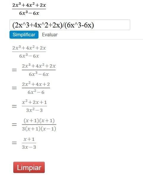 Ejemplo de como simplificar fracciones algebraicas