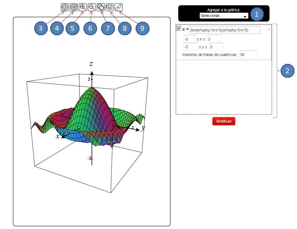 Graficador de funciones 3D - Graficador 3D online-instrucciones