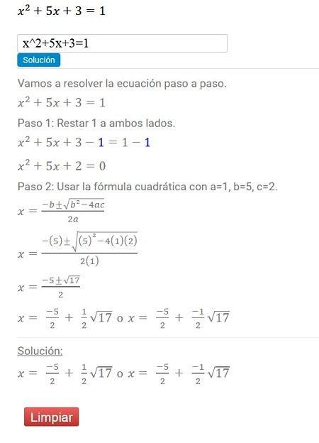 Calculadora de Ecuaciones online - Calculadora Algebraica ...