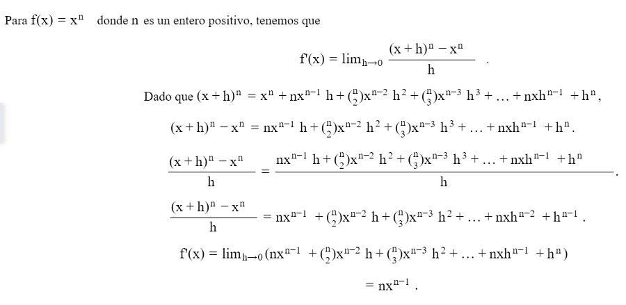 Demostracion de la derivada de una potencia