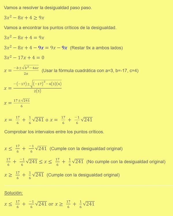 ejemplo de resolucion de inecuaciones cuadraticas o inecuaciones de segundo grado