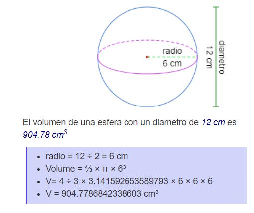 volumen de una esfera - ejemplo 01