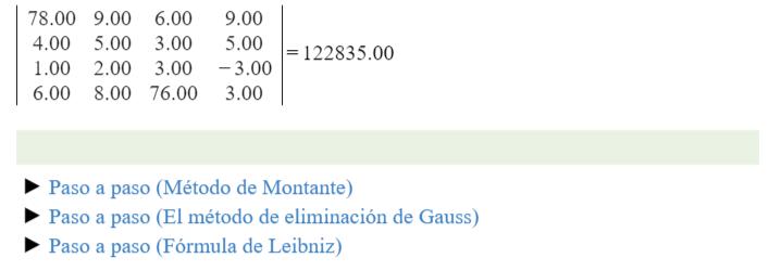 metodos de la calculadora de determinantes online