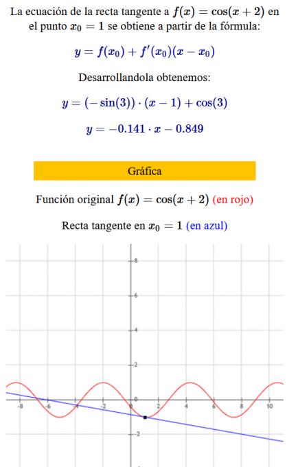 ecuacion de la recta tangente a una curva cos(x+2) - ejemplo 02