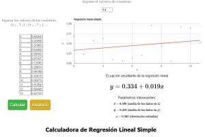 Calculadora de regresion lineal simple