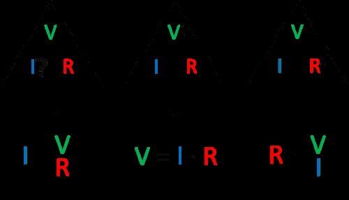 triangulo de la Ley de Ohm